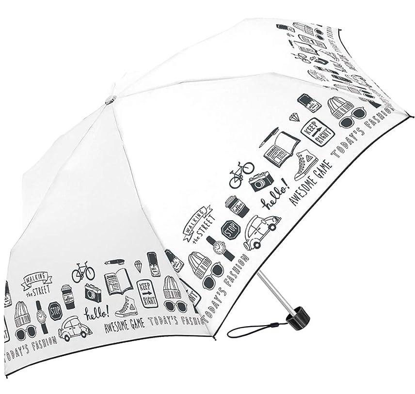 楽しむ繰り返しソーダ水[クラックス] 折りたたみ傘 折傘 55cm 耐風 モダンストリート 風に強い