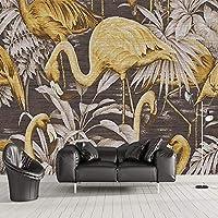 カスタム3D壁壁画現代布テクスチャ黄金の鳥葉抽象的な壁紙リビングルームテレビソファベッドルームサラ, 400cm×280cm
