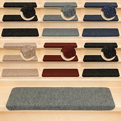 Kettelservice-Metzker Stufenmatten Treppenmatten Ramon Rechteckig - 5 Farben - 15 STK. Grau