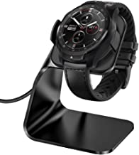 KIMILAR Compatible with Ticwatch Pro Charger Dock, Premium Aluminum Charging Stand Cable Cord Station Cradle Base Attached 4.2ft USB Cable Accessories for Ticwatch Pro Smartwatch (Black)