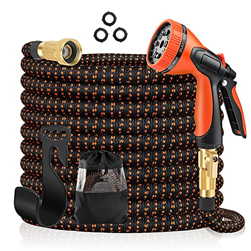 JIOPDSO Expandable Garden Hose 50ft, Water Hose with 10 Function Spray Nozzle, Durable 3-Layer Latex Core & 3/4 Inch Solid Brass Fittings, Lightweight No-Kink Flexible Hose for Watering and Washing