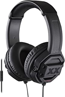 """JVC HA-MR60X Audífonos de Diadema Estéreo con Bajos Reforzados, Plug 3.5"""", Micrófono/Control Remoto, color Negro, Una tall..."""