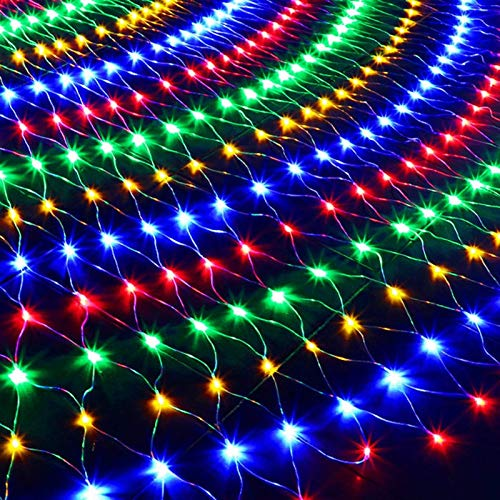 Navidad luces netas impermeable Jardín malla luces que destellan 8 Modos de baja tensión conectables luces de cadena for el árbol de Navidad arbustos boda al aire libre Patio de vacaciones Cortina cub