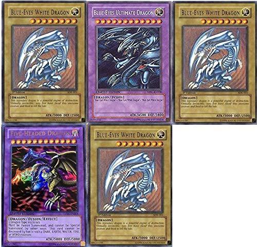 Yu-Gi-Oh!! Blue Eyes Ultimate Dragon! Five-Headed Dragon and 3 Blue Eyes White Dragon! All Rare 20 Yu-Gi-Oh Card Lot!!