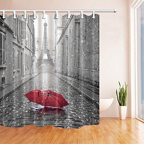 nyngei Paris Frankreich Decor Rot Schirm in Regen Eiffelturm Duschvorhang Polyester-179,8x 179,8cm Schimmelresistent-Badezimmer Fantastische Dekorationen Bad Gardinen Haken im Lieferumfang enthalten