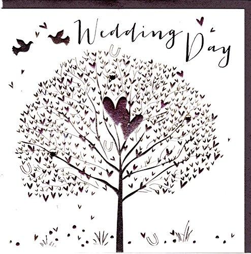 Belly Button Designs Glückwunschkarte zur Hochzeit mit Prägung und Folienauflage in Silber, veredelt mit ausgewählten Kristallen. Hochwertiger Umschlag in edlem steingrau. BB351
