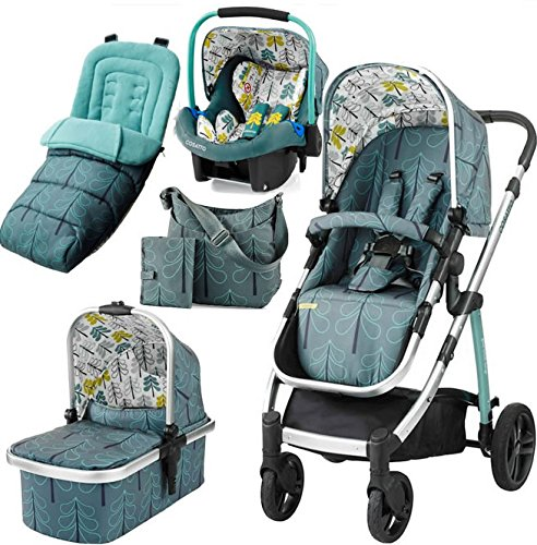 Cosatto Wow Travel System with Port Bag and footmuff in Fjord
