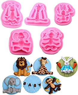 Large Forest Woodland Animals Fondant Cake Decorating Molds Wild Zoo Silicone Mold for Chocolate Candy Gum Paste Clay Sugar Craft Cupcake Topper Supplies-Monkey 、Rabbit、Elephant、Giraffe、Lion(set of 5)