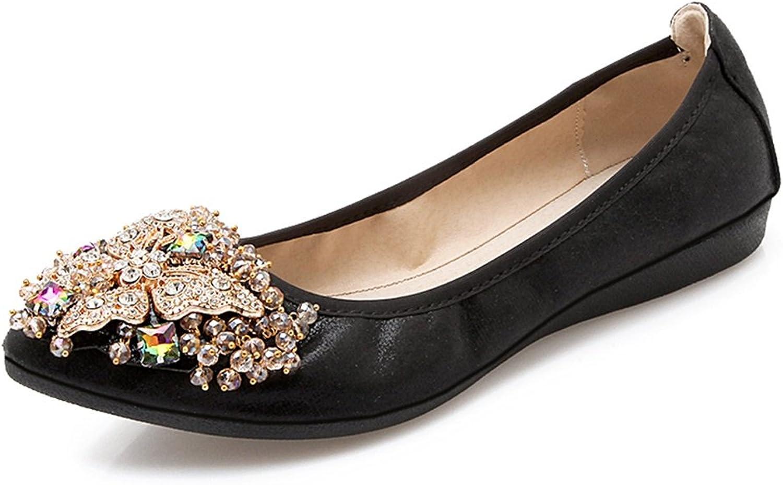 Meeshine Women's Wedding Flats Rhinestone Slip On Foldable Ballet shoes