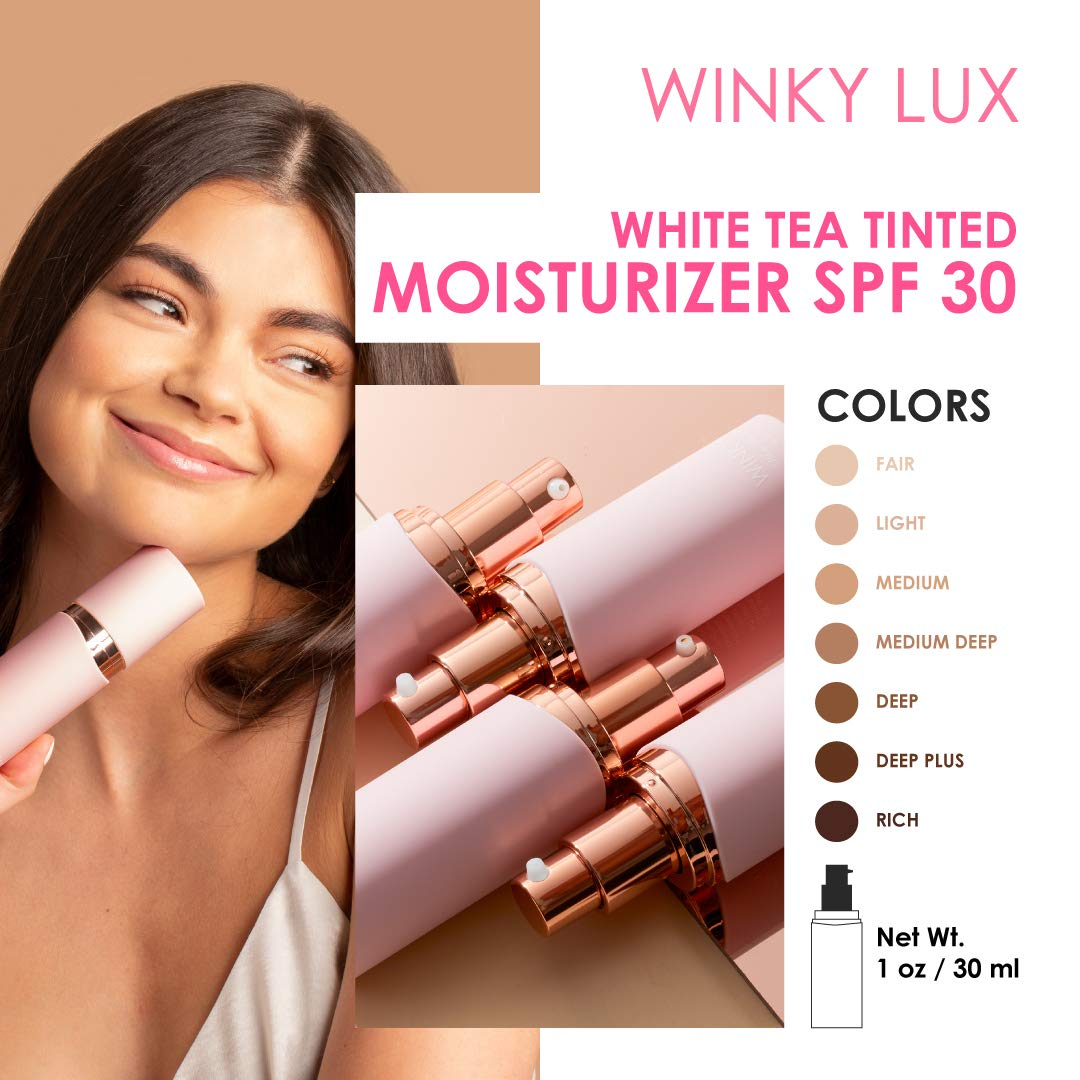 Winky Lux White Tea Tinted Veil Moisturizer, SPF 30 Rated Face Moisturizing Creme with Medium Tint Level, Vitamins, Minerals, and White Tea for Anti-Aging, 1fl Oz, Fair