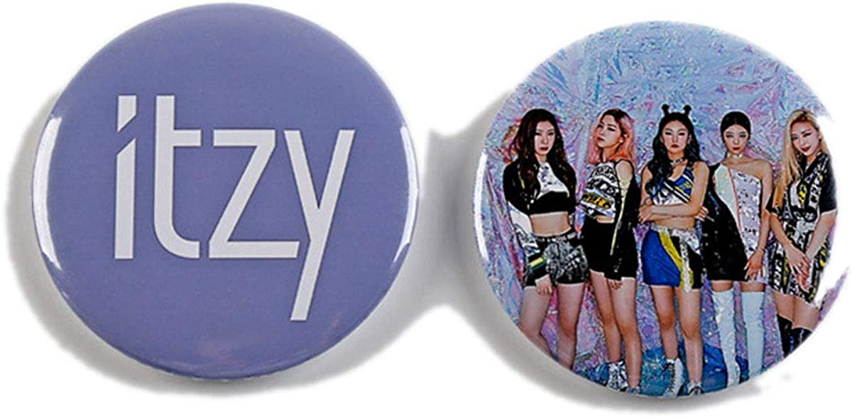 ALLDECOR Kpop ITZY YUNA LIA Fans Support Brooch Album Photo Round Badge 2PCS Accessories for Cloth Bag Hat Women Jewelry