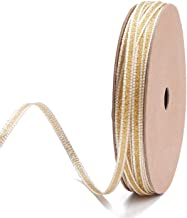 LaRibbons 4mm Wide Gold and White Striped Metallic Ribbon for Decoration, Craft, Gift Wrappping - 10 Yard/Spool