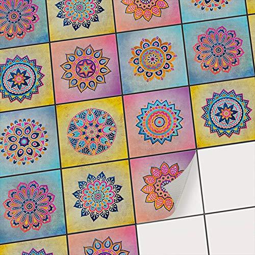 creatisto Fliesenaufkleber - Mosaikfliesen I Fliesenfolie statt Fliesenlack I Klebefolie für Bad-Fliesen - Küchenrückwand und Fliesenspiegel verschönern I 10x10 cm - Motiv Indian Tiles - 9 Stück