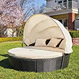 M&W Patio Furniture Round Outdoor Daybed with Retractable Canopy and Lift Top Coffee Table, PE Wicker Rattan Sectional Sofa Set for Lawn Garden Backyard Pool