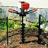 Taladro de suelo de gasolina de 2 tiempos, 52 cc, 1,9 W/7500 rpm, motor de gasolina, taladro de tierra con 4 pulgadas y 8 pulgadas, para plantas de jardín, flores