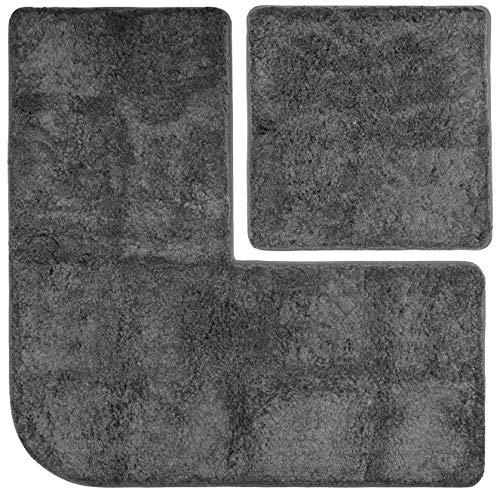 FLUFFY Badteppich-Set - Vorleger für Eckduschen und Wand-WC, Hochflor aus Mikrofaser, rutschfeste Unterseite (Anthrazit)