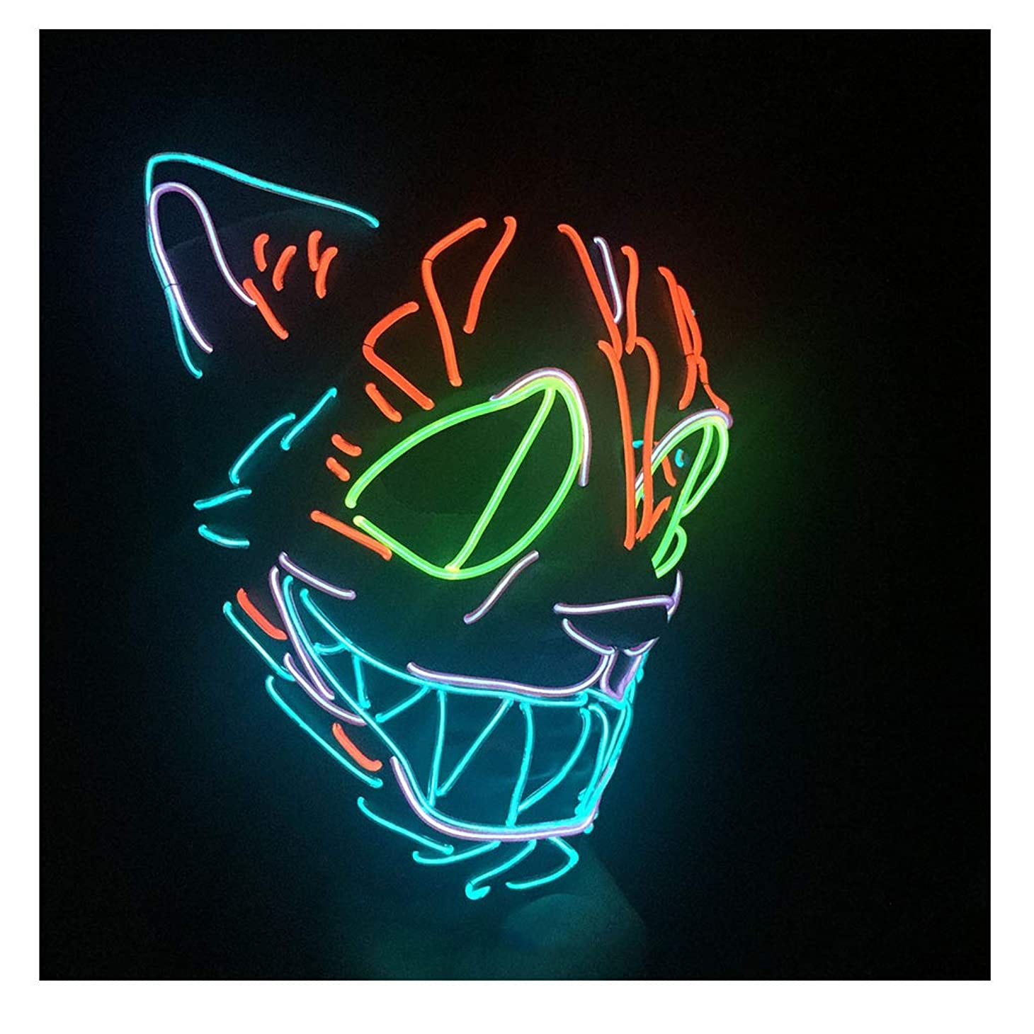 注目すべきラベル暴力怖いマスクハロウィンコスプレ-コスチュームマスクライトアップフェスティバルパーティー用LEDマスクブルー,赤