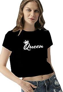 DASK Crop Top Queen Printed Half Sleeve Round Neck Black Hot T Shirt