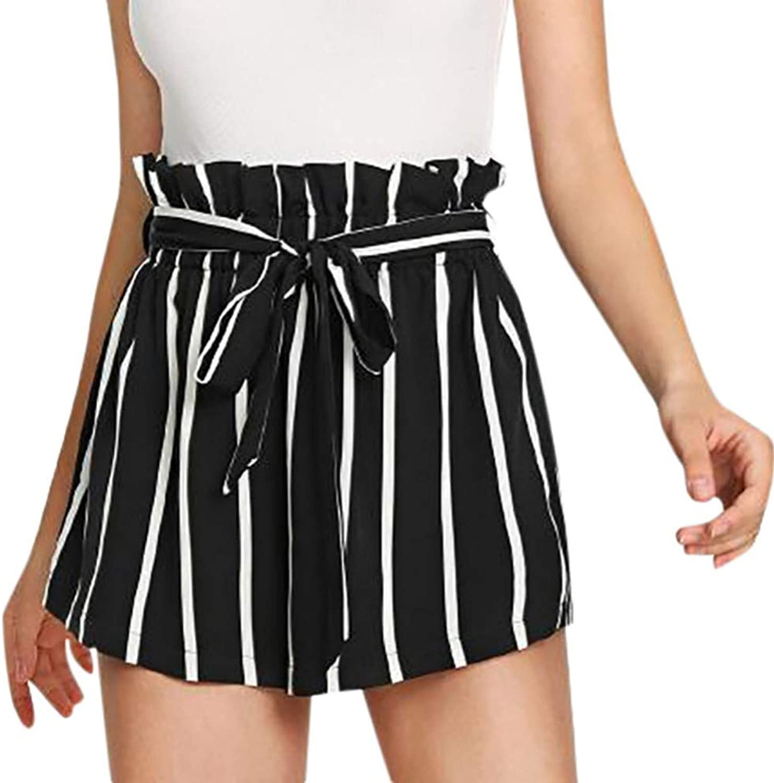 DAHDXD Summer Women's Shorts Office Lady greenical Striped Pocket Shorts Elastic Mid Waist Wide Leg Shorts Women Cotton White Shorts