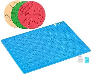 TECBOSS 3D Pen Mat, 3D Printing Pen Pad Silicone Template with Bonus 3 Patterns Mat 2 Finger Protectors, Best Tools for 3D Drawing, Gift Box