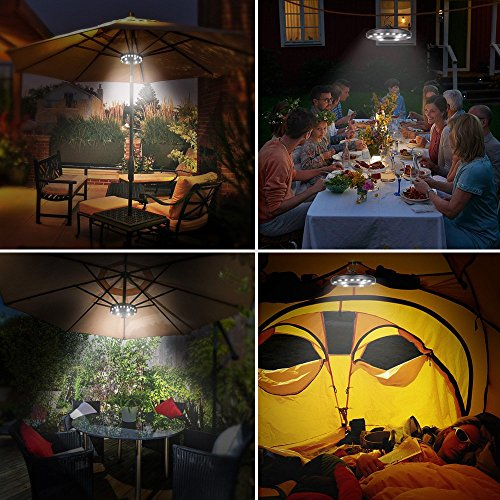 OYOCO Patio Umbrella Light 3 Brightness Modes Cordless 28 LED Lights at 200 lumens-4 x AA Battery Operated,Umbrella Pole Light for Patio Umbrellas,Camping Tents or Indoor Use (Black)