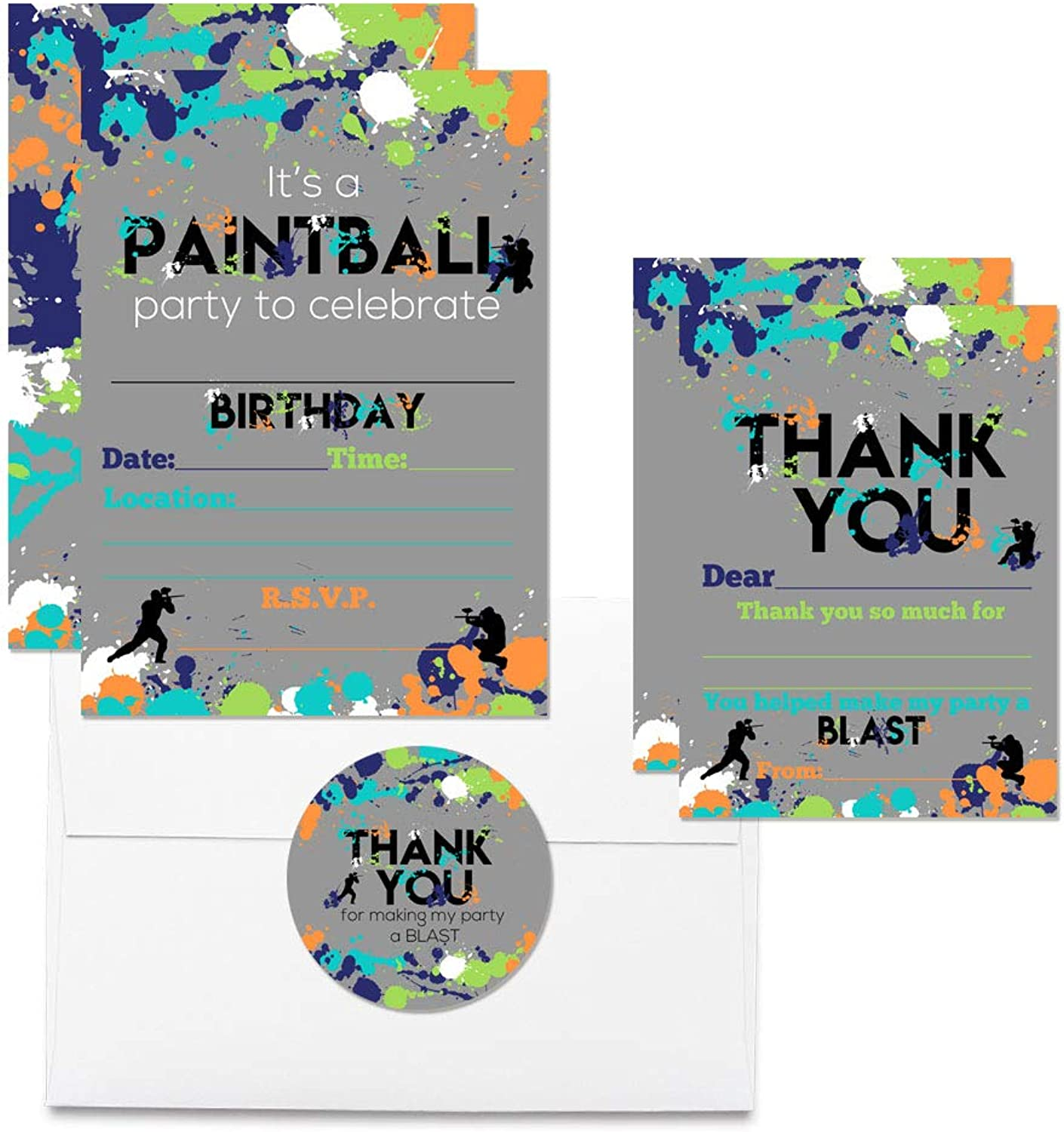 Deluxe Paintball Birthday Party Bundle, Includes 20 Each of 5 x7  Fill-in Invitation Cards, Thank You Cards, Thank You Party Favor Stickers and Envelopes