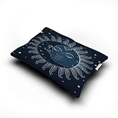 """Sun and Moon Three-Piece Solid Color Spiritual Celestial Theme Sun with Crescent Moon Midnight Art Grey and White Comforter 89""""x89""""inch Dark Blue Slate Blue White"""