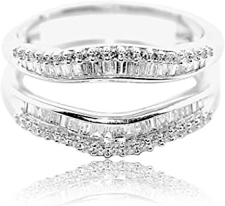 Midwest Jewellery 1/2cttw Diamond Baguette Ring Guard Solitaire Jacket 10K White Gold 10.5mm Wide