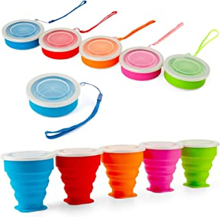 Shebaking Set of 5 Collapsible Cup Silicone Folding Travel Cup Portable Camping Cup with Lids for Outdoor Hiking, Sports a...