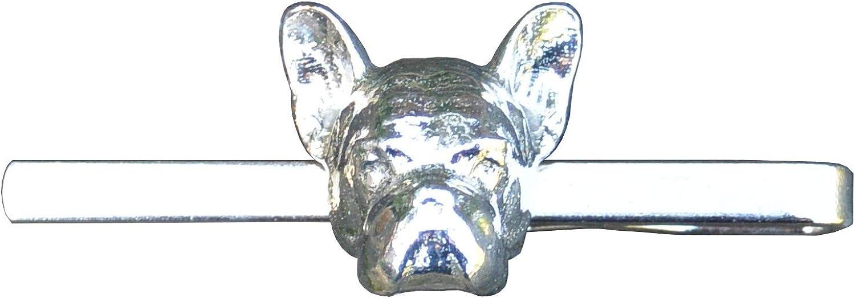 French Bulldog Tie Clip, Bulldog Tie Clip, French Bull Dog Head, Dog Tie Clip, Tie Clip, Handcast, in Fine Pewter, by William Sturt
