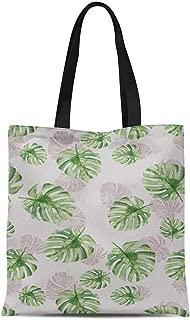 S4Sassy Green Monstera Leaves Printed Women Large Tote Bag Shopping Travel Bag Shoulder Handbag 16x12 Inches