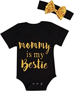Newborn Baby Girls Romper Mommy is My Bestie Bodysuit +Headband Outfit Set 12-18 Months Black