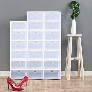 Kaibrite Lot de 20 boîtes de rangement pour chaussures - Boîtes en plastique pliables et empilables - Blanc transparent