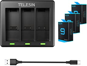 TELESIN 3-Pack Replacement Battery (1750mAh) and 3-Channel USB Quick Charger with Type-C Cord for GoPro Hero 9 Black (Full...