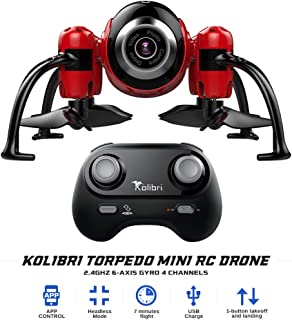 Kolibri Torpedo Mini RC Drone for Kids & Beginners, Best Small Drone with 480P Wi-Fi Camera Live Video Feed, 2.4GHz 6-Axis Gyro 4 Channels FPV App Controlled Quadcopter w/Headless Mode.