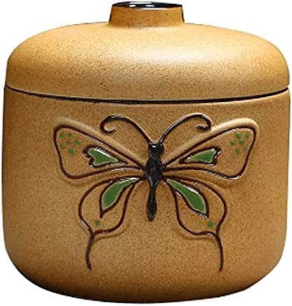 XSWZAQ International Artisans Crafted Premium Rosewood Decorative Hand Carved Wooden Urns | Carved With Precision | Memorial Wooden Urns For Loved (Color : Green Butterfly)