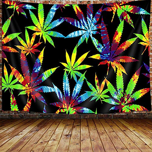 JAWO Tie Dye Weed Small Tapestry for Men, Trippy Marijuana Stuff Stoner Posters Tapestry Wall Hanging Accessories for…