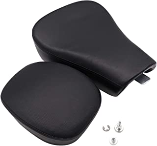 GOOFIT Front Rider Solo Seat + Rear Passenger Pilion Pad Cushion Compatible with Harley Sportster XL1200 883 48 72