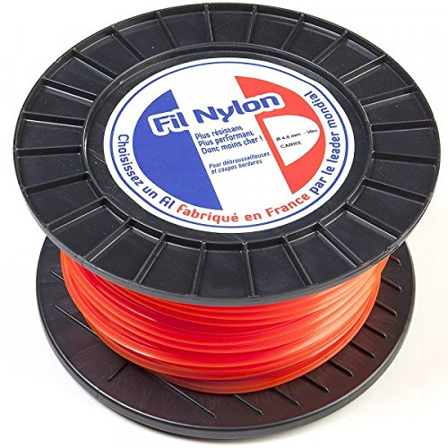 Fil nylon 4 mm x 50 m carré orange bobine - Pièce neuve