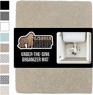 GORILLA GRIP Original Premium Under Sink Mat Liner, 24x30, Non-Adhesive Absorbent Organizer Mats, Durable and Strong Waterproof Shelf Liners for Under Kitchen Sinks, Bathroom, Laundry Room, Beige
