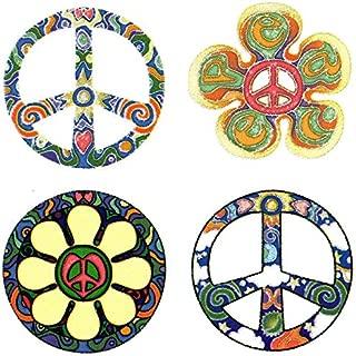 "4 Peace Sign Set – Hippie Window Sticker / Decal - Circular each 2.5"" Translucent"