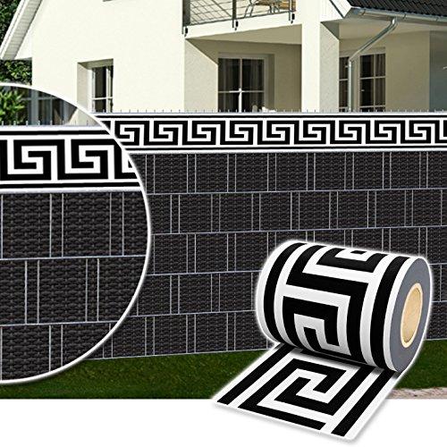 Plantiflex Sichtschutz Rolle 35m Blickdicht PVC Zaunfolie Windschutz für Doppelstabmatten Zaun (Zierstreifen-Modern)