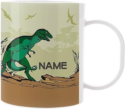 Preisvergleich für Striefchen® Kinder Tasse aus Melamin mit Wunschnamen - Motiv: Dinosaurier