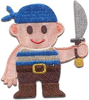 Pirate Crew espada sable Skull Beach - Parches termoadhesivos bordados aplique para ropa, tamaño: 5,1 x 6,2 cm
