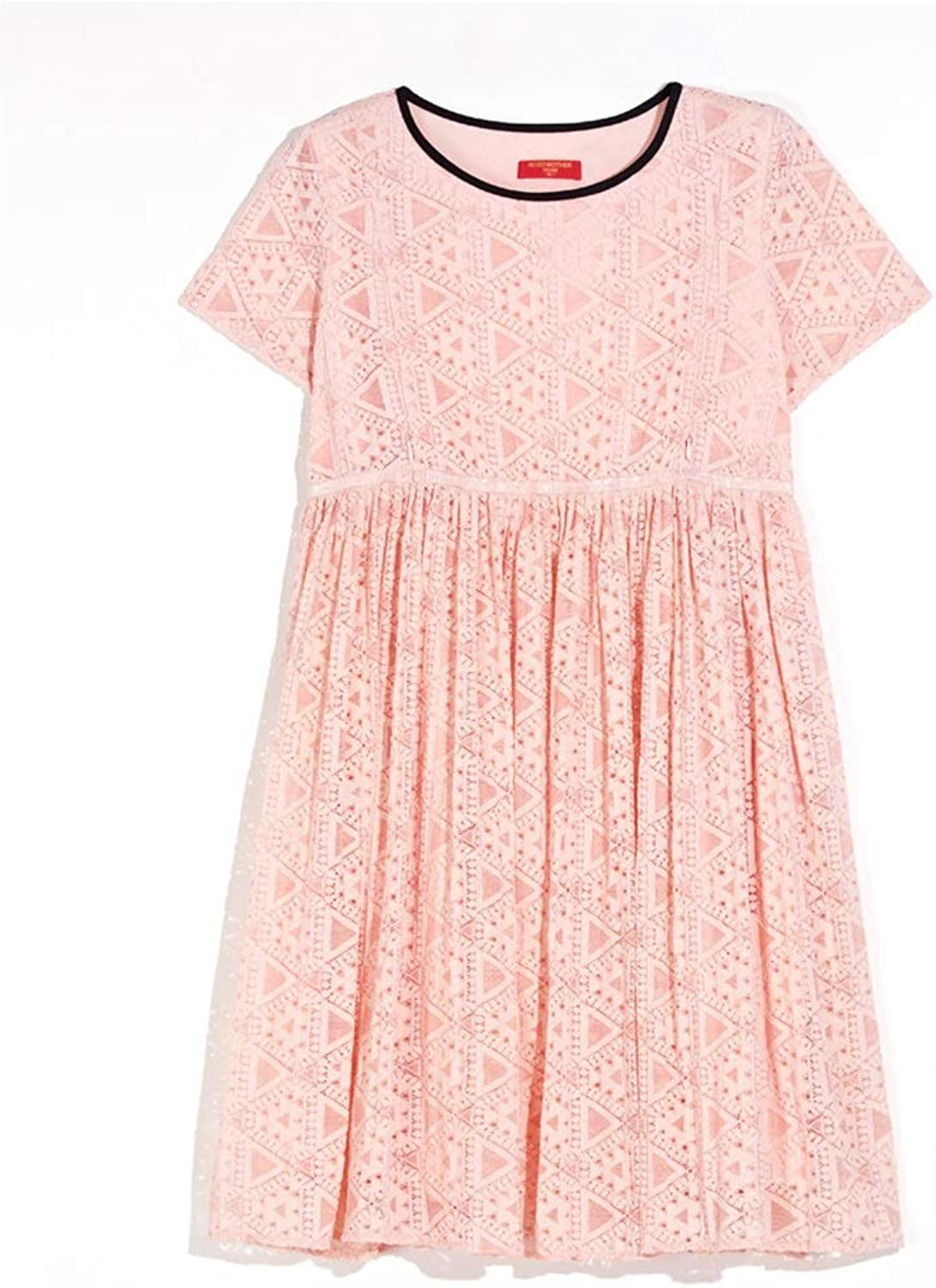Casual Breastfeeding Dress Short Sleeves Dress Loose ONeck Dress Pregnant Women Lace Skirt Wear to Work (color   Pink, Size   M)