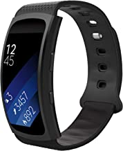 MoKo for Samsung Gear Fit2 / Gear Fit2 Pro Watch Band, Soft Silicone Replacement Sport Band for Samsung Gear Fit 2 SM-R360 / Fit 2 Pro Smart Watch, Black (Fits 5.90