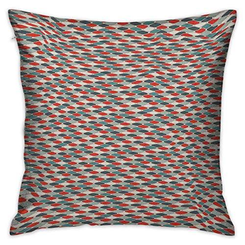 N\A Retro quadratischer Körper Kissenbezug Muster von Mosaik mit geometrischem Design altmodischen Gitter Stil Achteck Fliesen mehrfarbige Kissenbezüge Kissenbezüge für Sofa Schlafzimmer Auto