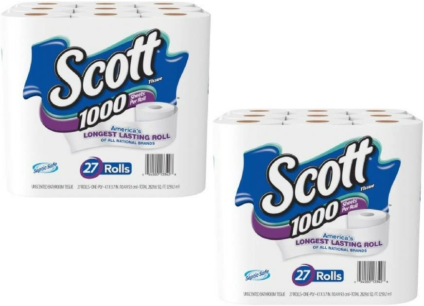 Amazon Com Scott 1000 Sheets Per Roll Toilet Paper 27 Rolls 2 Pack Kitchen Dining