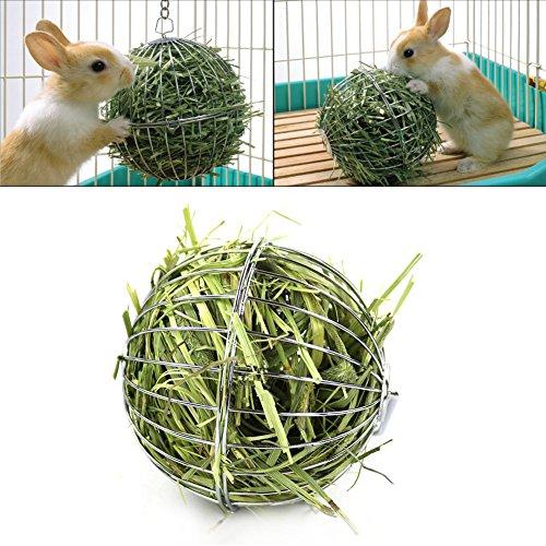 Bola comedero   juguete de acero inoxidable, con gancho para colgar, para conejos, cobayas, hámsteres, animales pequeños