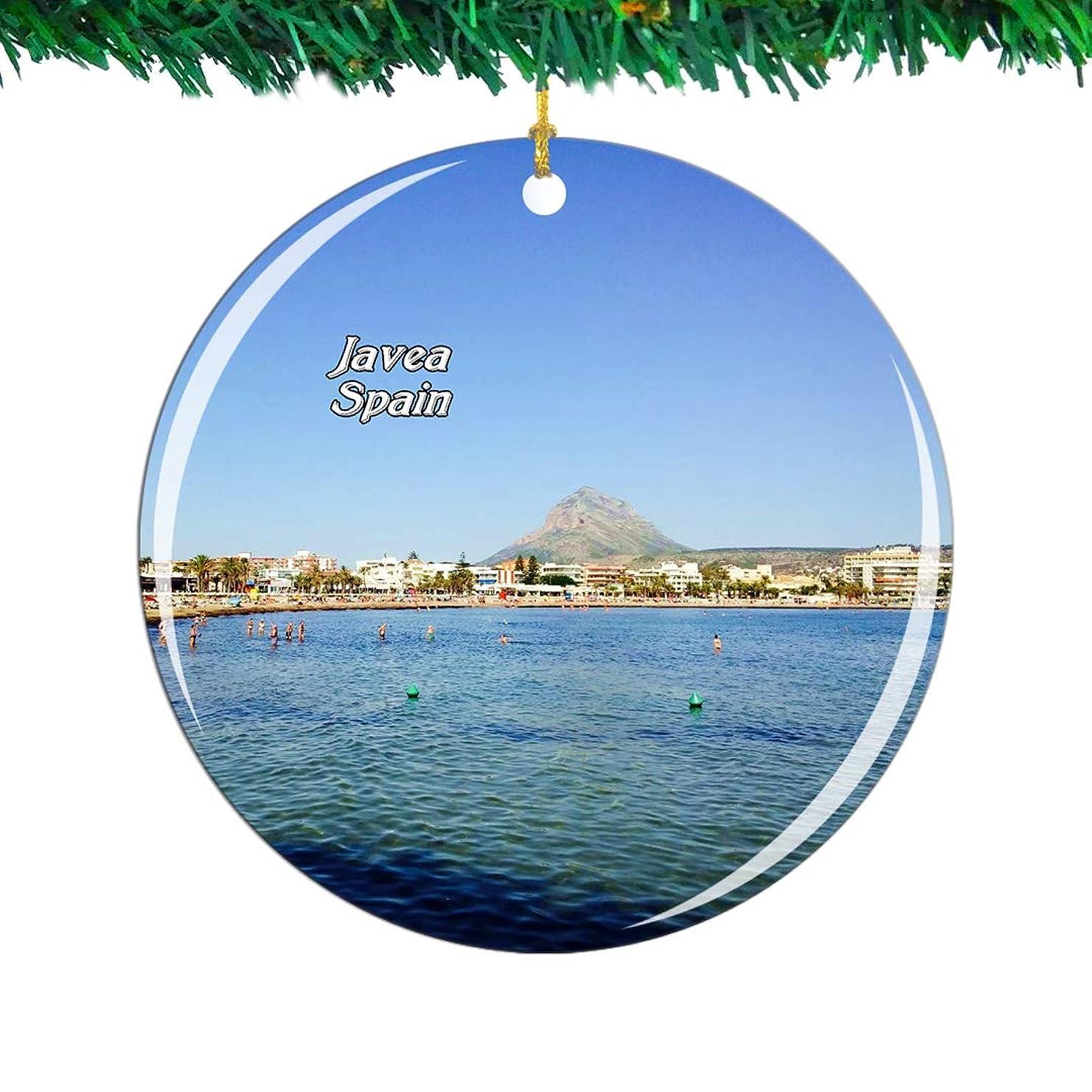 閃光磁気約設定Weekino スペインアレナルビーチハベアクリスマスオーナメントシティ旅行お土産コレクション両面 磁器2.85インチ ぶら下がっている木の装飾
